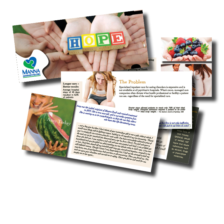 Non-profit brochure for Manna Fund. Cutouts at right side of horizontal brochure hold rubber MANNA FUND bracelet.